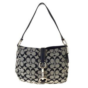 Coach Signature F13067 Canvas Shoulder Bag Black
